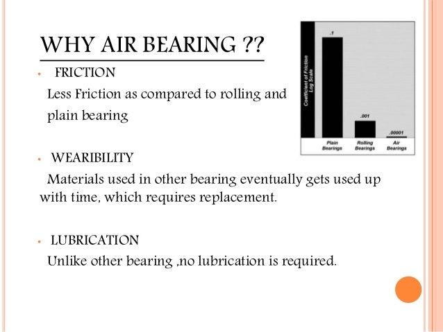 WHY AIR BEARING ?? • FRICTION Less Friction as compared to rolling and plain bearing • WEARIBILITY Materials used in other...