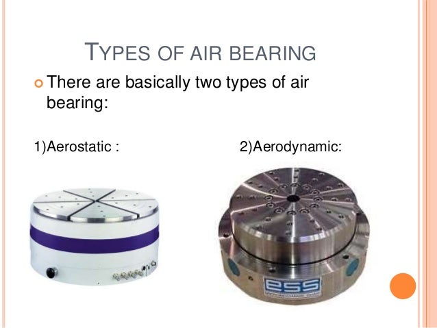 TYPES OF AIR BEARING  There are basically two types of air bearing: 1)Aerostatic : 2)Aerodynamic: