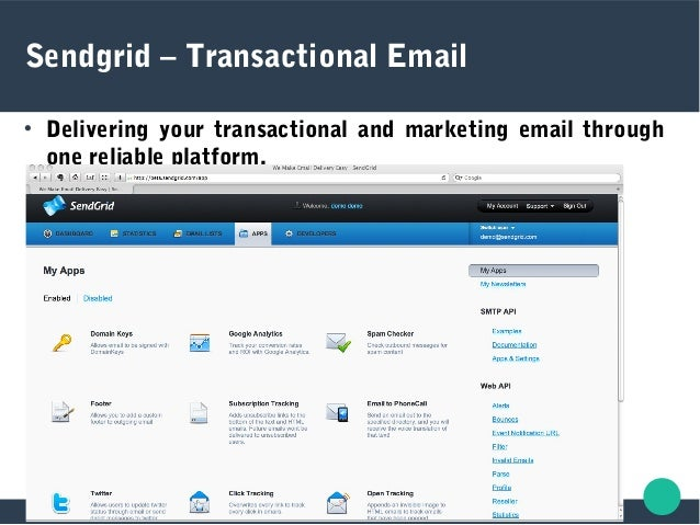 Sendgrid – Transactional Email  Delivering your transactional and marketing email through one reliable platform.