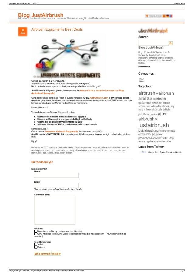 Airbrush Equipments Best Deals Blog JustAirbrushIstruzioni, indicazioni e newssu come utilizzare al meglio JustAirbrush.co...