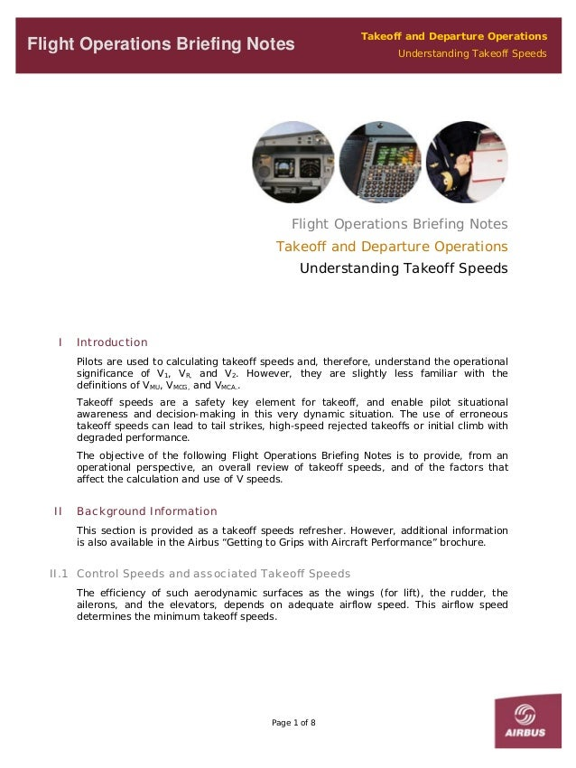 Takeoff and Departure OperationsUnderstanding Takeoff SpeedsFlight Operations Briefing NotesFlight Operations Briefing Not...