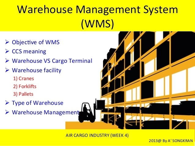 Warehouse	  Management	  System	  (WMS)	  Ø  Objec7ve	  of	  WMS	  Ø  CCS	  meaning	  	  Ø  Warehouse	  VS	  Cargo	  Te...