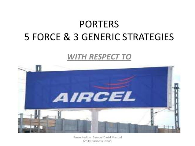PORTERS 5 FORCE & 3 GENERIC STRATEGIES WITH RESPECT TO Presented by : Samuel David Mandal Amity Business School