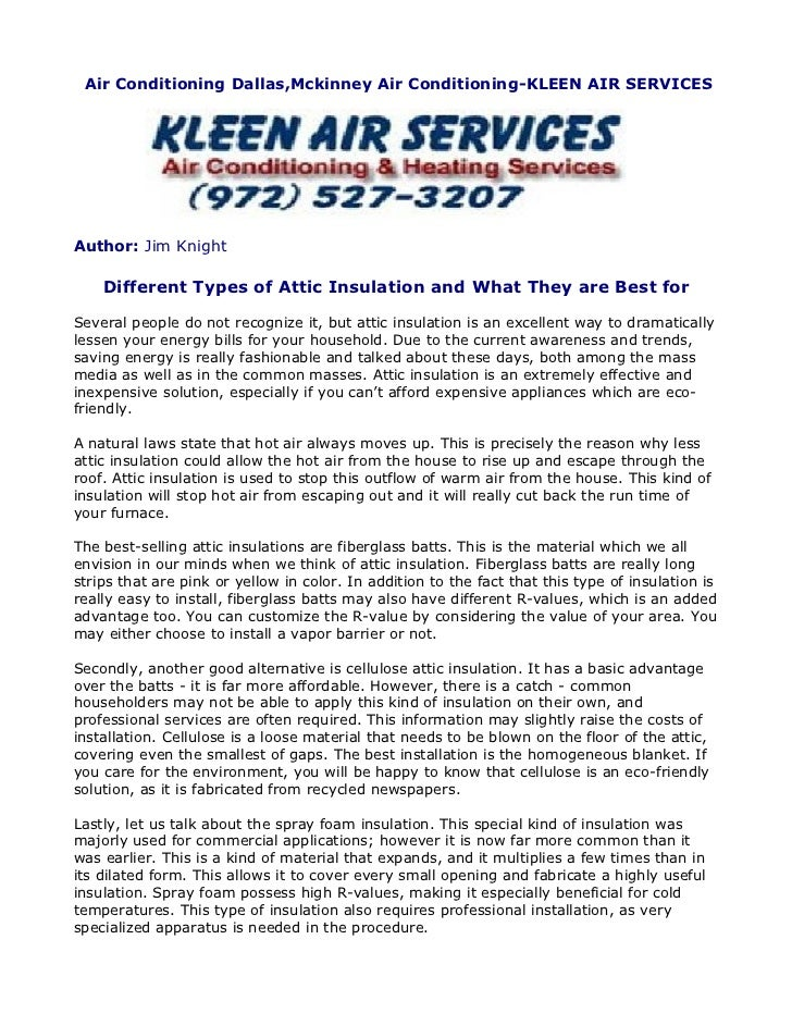 Air Conditioning Dallas,Mckinney Air Conditioning-KLEEN AIR SERVICESAuthor: Jim Knight    Different Types of Attic Insulat...