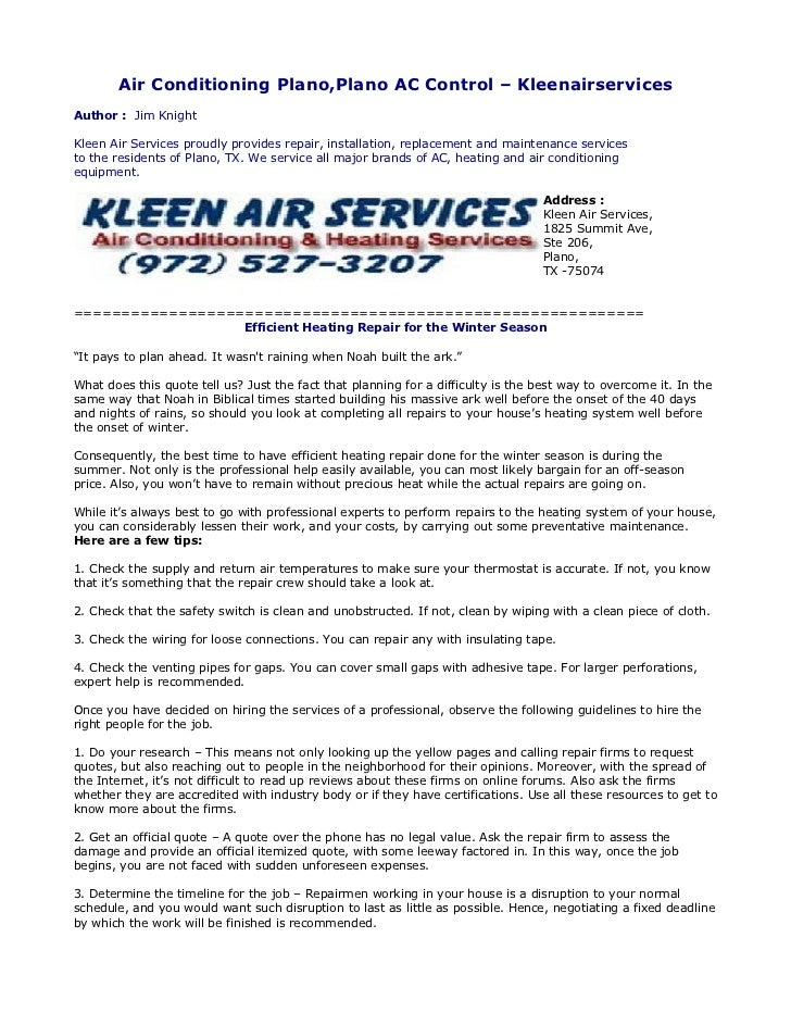 Air Conditioning Plano,Plano AC Control – KleenairservicesAuthor : Jim KnightKleen Air Services proudly provides repair, i...
