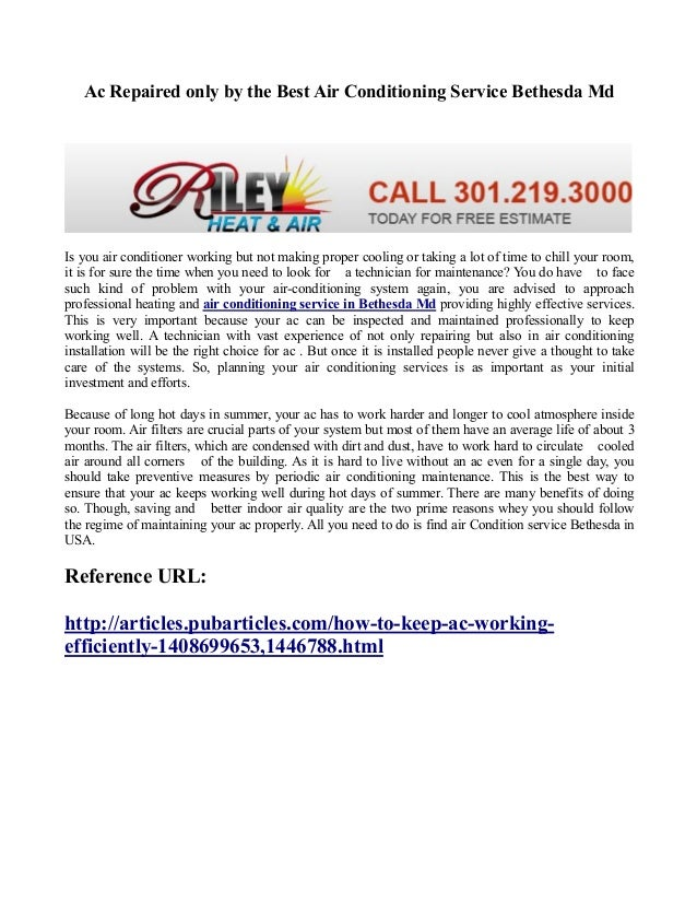 Ac Repaired only by the Best Air Conditioning Service Bethesda Md Is you air conditioner working but not making proper coo...