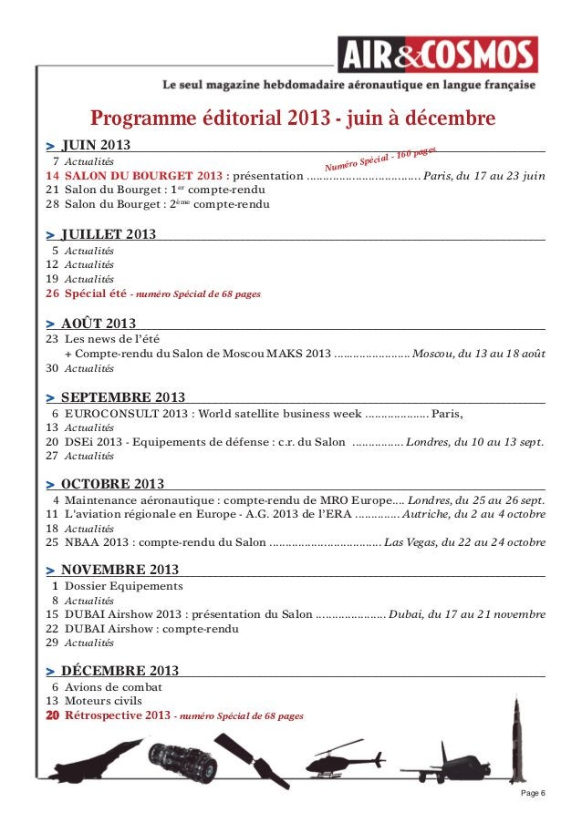 Programme éditorial 2013 - juin à décembrePage 6> jUIN 20137 Actualités14 SALON DU BOURGeT 2013 : présentation ..............