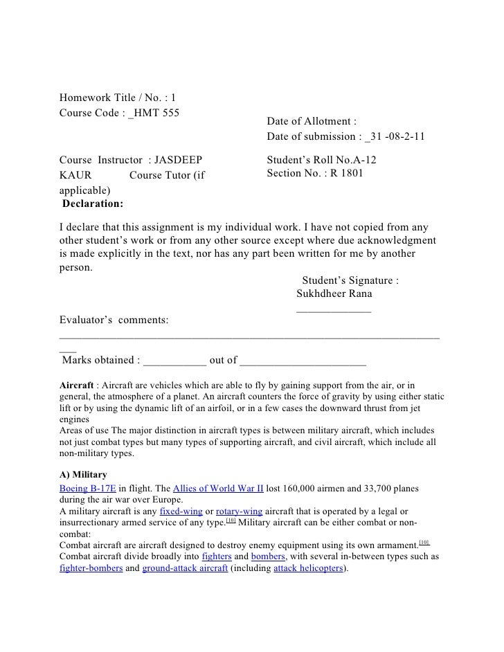 Homework Title / No. : 1Course Code : _HMT 555                                                      Date of Allotment :   ...