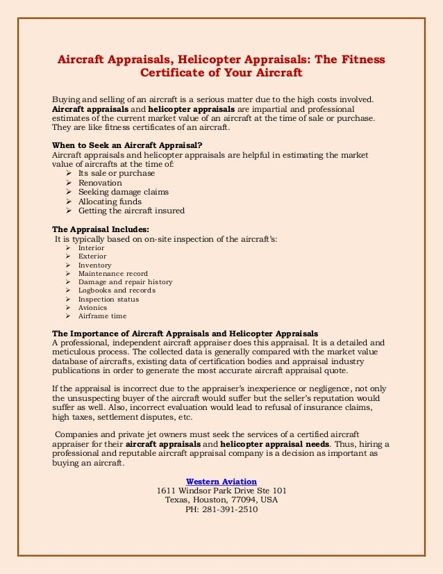 Aircraft Appraisals Helicopter Appraisals The Fitness Certificate O