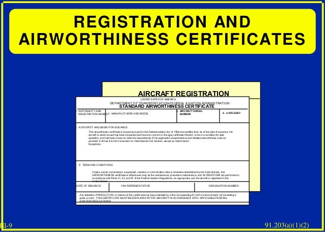Aircraft inspections 9 iii 9 registration and airworthiness certificates yelopaper Gallery