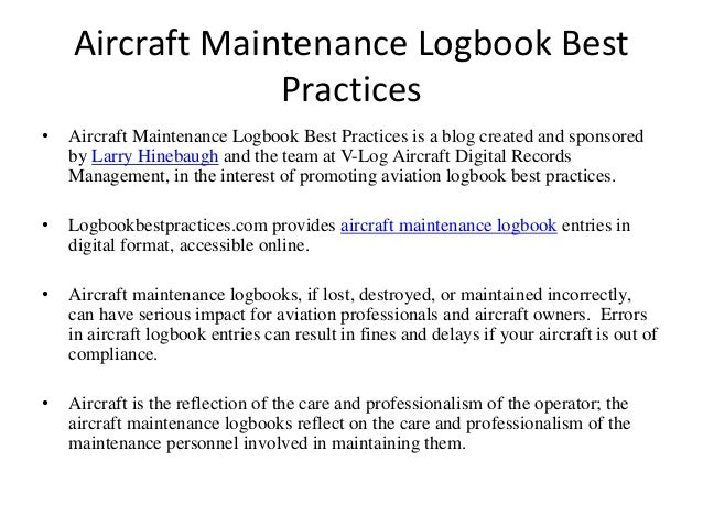 maintenance log book