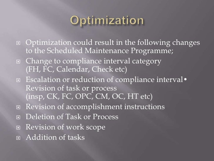 development of aircraft maintenance programme The process of developing maintenance programs for new aircraft and aircraft engines has evolved in the past, each air carrier proposed its own unique program.