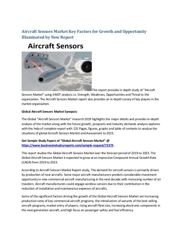 Aircraft Sensors Market Size to Expand Significantly by the End of 20…
