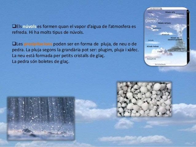Els núvols es formen quan el vapor d'aigua de l'atmosfera es refreda. Hi ha molts tipus de núvols. Les precipitacions po...