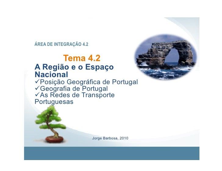 ÁREA DE INTEGRAÇÃO 4.2              Tema 4.2 A Região e o Espaço Nacional Posição Geográfica de Portugal Geografia de ...
