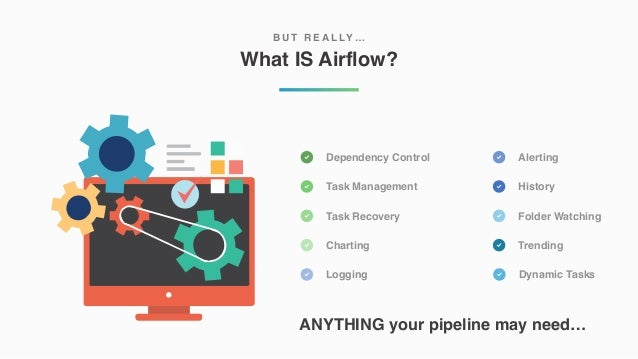 What IS Airflow? B U T R E A L LY … Dependency Control Task Management Task Recovery Charting Logging Alerting History Fol...
