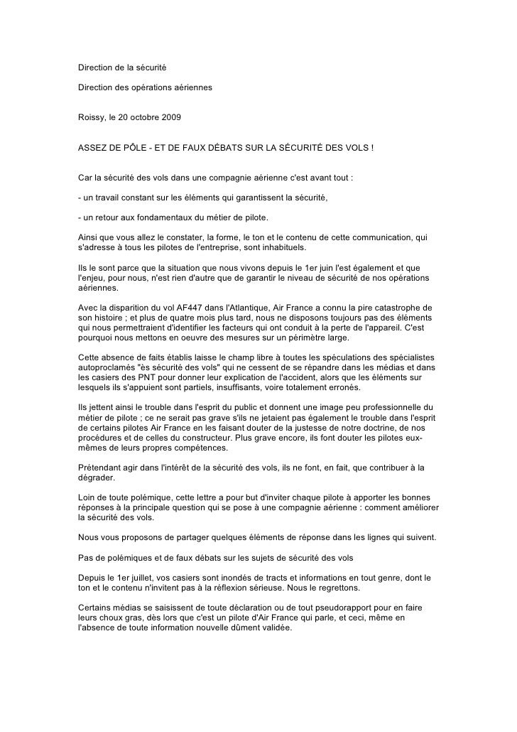 Direction de la sécurité  Direction des opérations aériennes   Roissy, le 20 octobre 2009   ASSEZ DE PÔLE - ET DE FAUX DÉB...