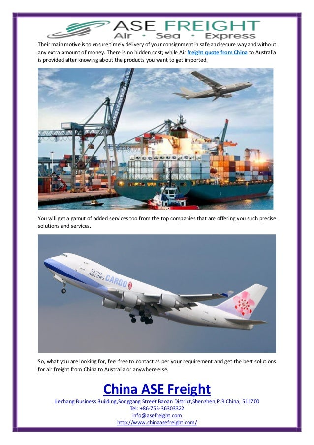 Air freight quote from china to australia at china ase freight