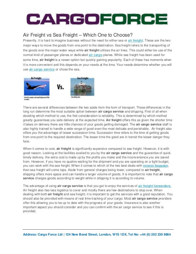 Air Freight vs Sea Freight – Which One to Choose?Presently, it is hard to imagine business without the need for either sea...