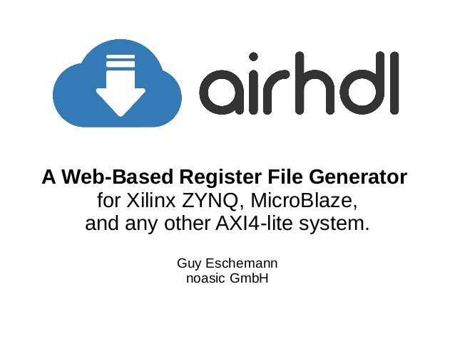 airhdl -- A Web-Based Register File Generator for Xilinx
