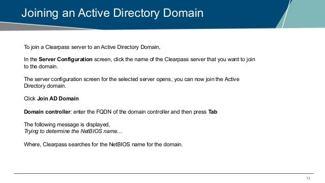 EMEA Airheads- ClearPass - Dot1x_ Purpose of domain joining