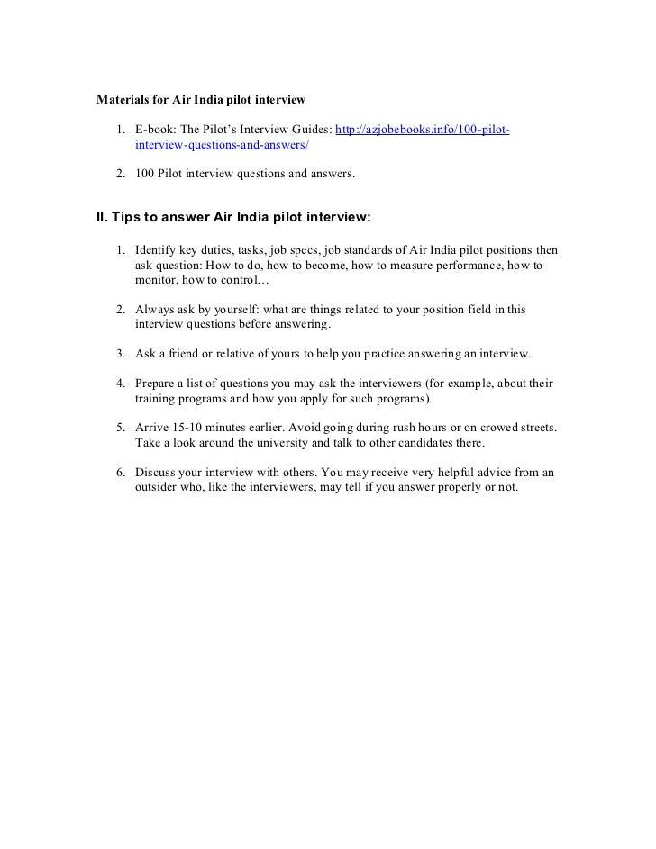 2 materials for air india pilot interview - Airline Pilot Job Interview Questions And Answers