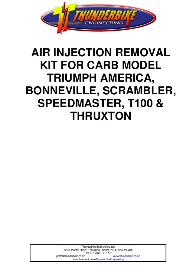 AIR INJECTION REMOVAL  KIT FOR CARB MODEL    TRIUMPH AMERICA,BONNEVILLE, SCRAMBLER,  SPEEDMASTER, T100 &        THRUXTON  ...