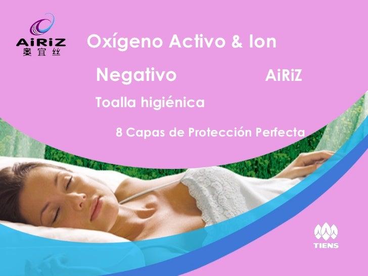 8 Capas de Protección Perfecta Oxígeno Activo & Ion Negativo   AiRiZ  Toalla higiénica