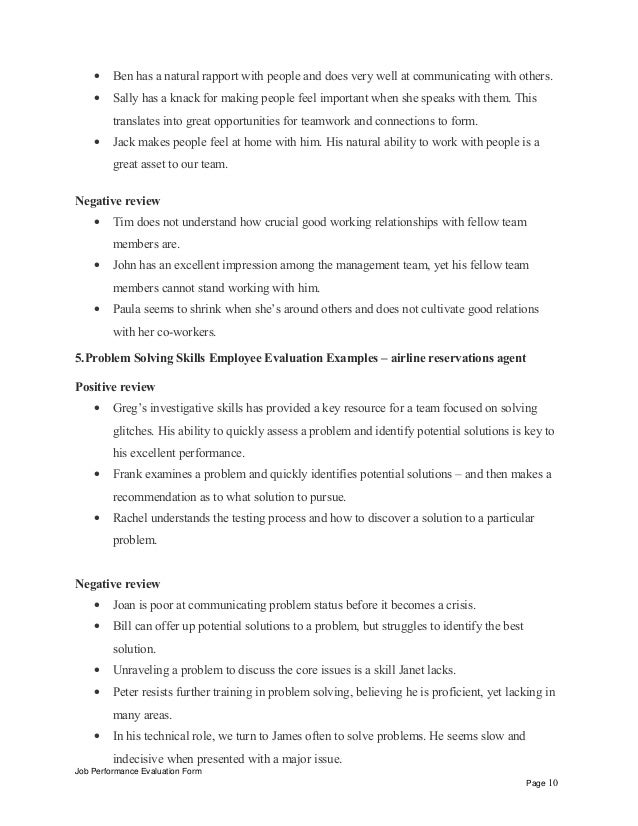 interpersonal skills performance review phrases airline reservations agent positive review job performance evaluation form page 9 10