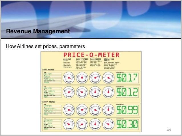 How Airlines set prices, parameters 106 Revenue Management