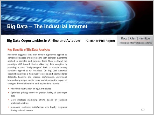 Big Data – The Industrial Internet 125 Big Data Opportunities in Airline and Aviation Click for Full Report