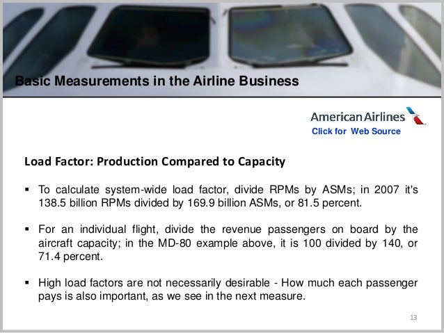 13 Load Factor: Production Compared to Capacity  To calculate system-wide load factor, divide RPMs by ASMs; in 2007 it's ...