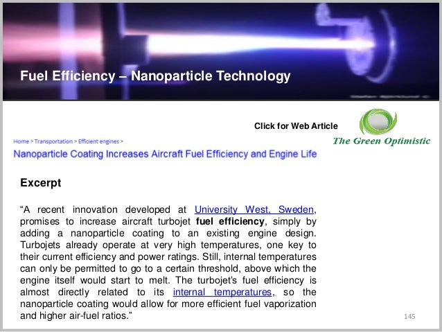 """145 C Fuel Efficiency – Nanoparticle Technology Click for Web Article """"A recent innovation developed at University West, S..."""