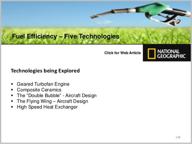 """148 C Click for Web Article Technologies being Explored  Geared Turbofan Engine  Composite Ceramics  The """"Double Bubble..."""