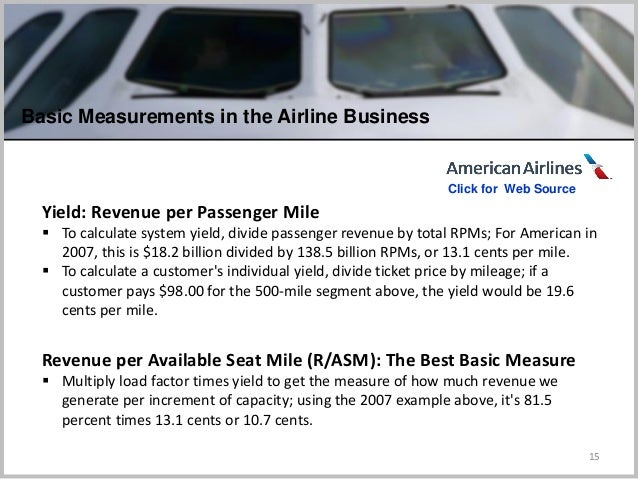 15 Yield: Revenue per Passenger Mile  To calculate system yield, divide passenger revenue by total RPMs; For American in ...