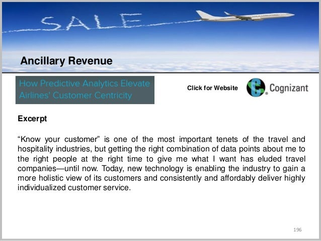 """196 Ancillary Revenue C Click for Website Excerpt """"Know your customer"""" is one of the most important tenets of the travel a..."""