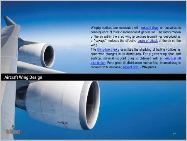 57 Aircraft Wing Design Wingtip vortices are associated with induced drag, an unavoidable consequence of three-dimensional...