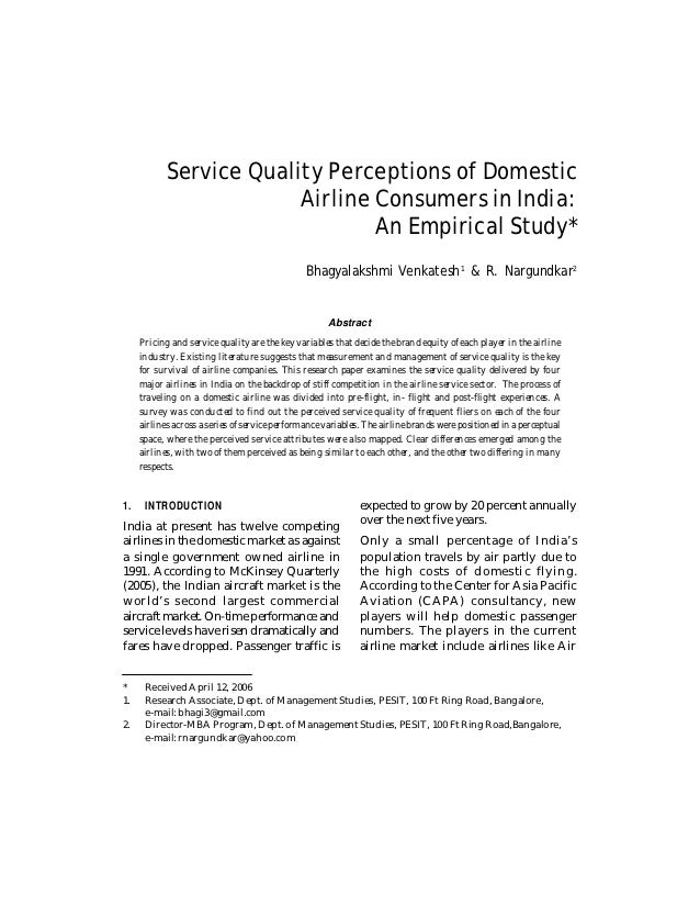 Service Quality Perceptions of Domestic                         Airline Consumers in India:                               ...