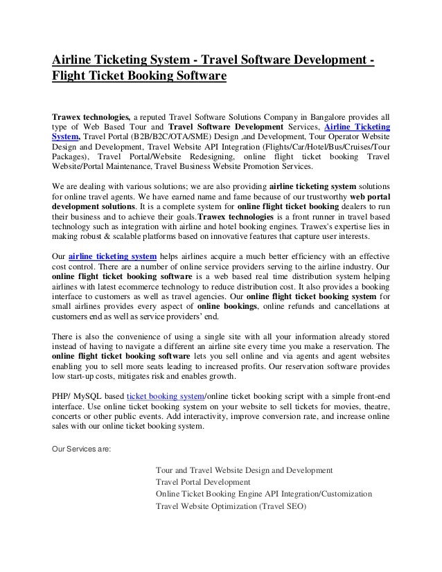 Airline Ticketing System - Travel Software Development - Flight Ticket Booking Software Trawex technologies, a reputed Tra...