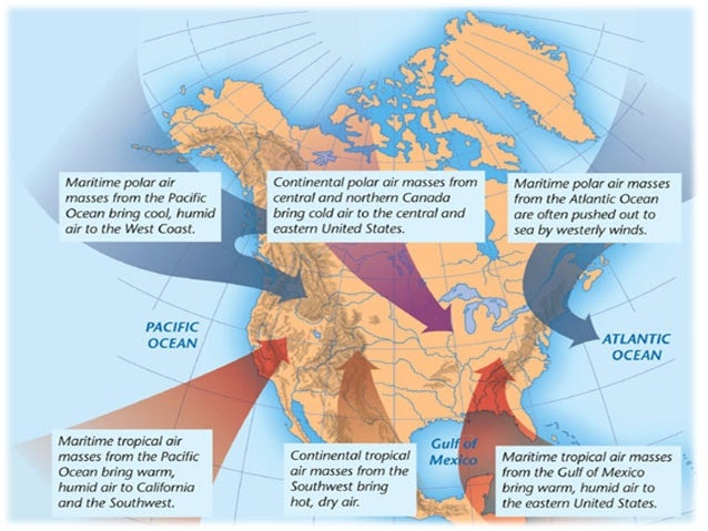 Air Masses And Fronts - Air masses map of us hot dry cool moist