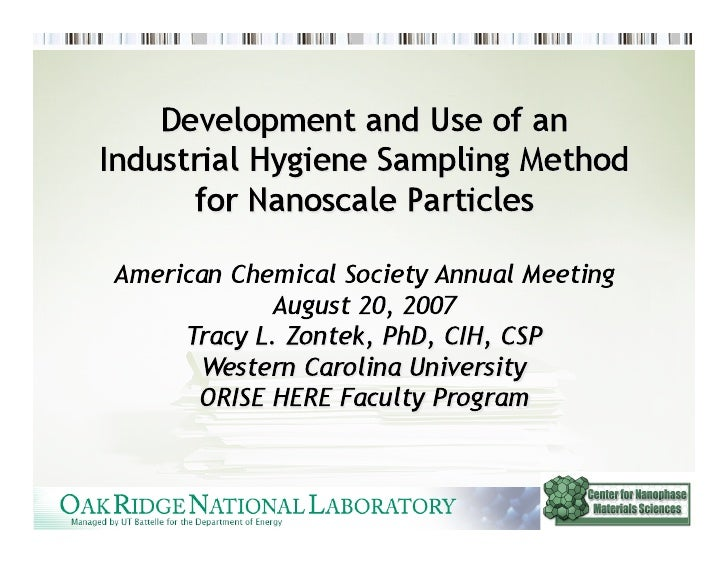 Overview  • Background • Summary of Health Effects • Measurement Techniques • Sampling Strategy • DOE NSRC Industrial...