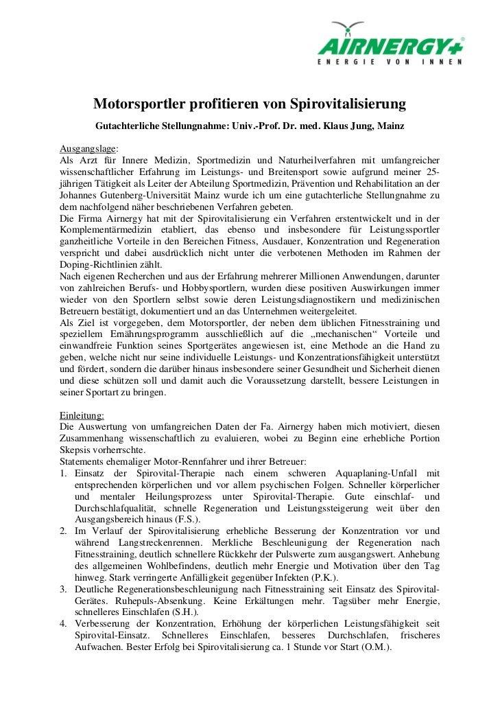 Motorsportler profitieren von Spirovitalisierung        Gutachterliche Stellungnahme: Univ.-Prof. Dr. med. Klaus Jung, Mai...