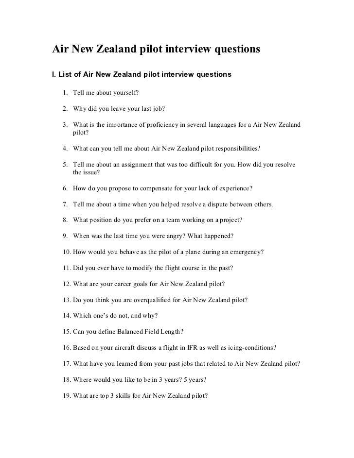 air new zealand pilot interview questions