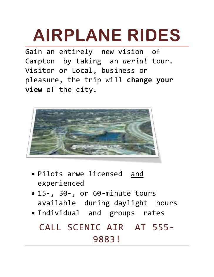 Airplane Rides<br />Gain an entirely  new vision  of  Campton  by taking  an aerial tour. Visitor or Local, business or pl...