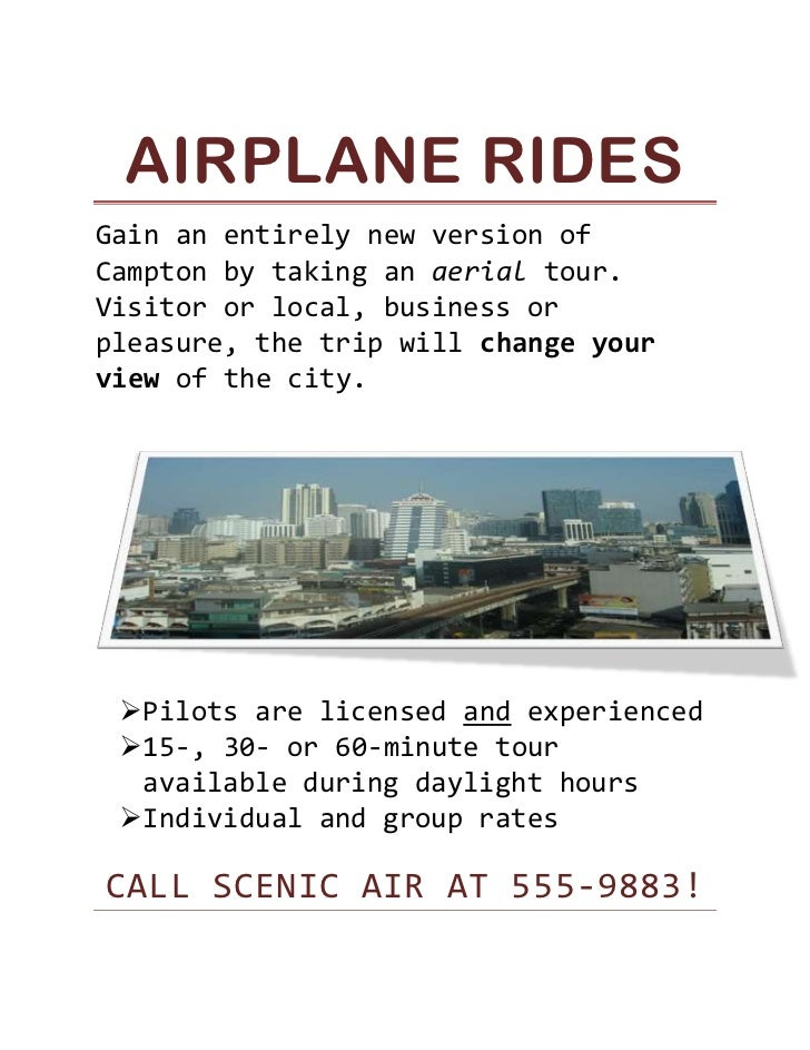 Airplane Rides<br />Gain an entirely new version of Campton by taking an aerial tour. Visitor or local, business or pleasu...