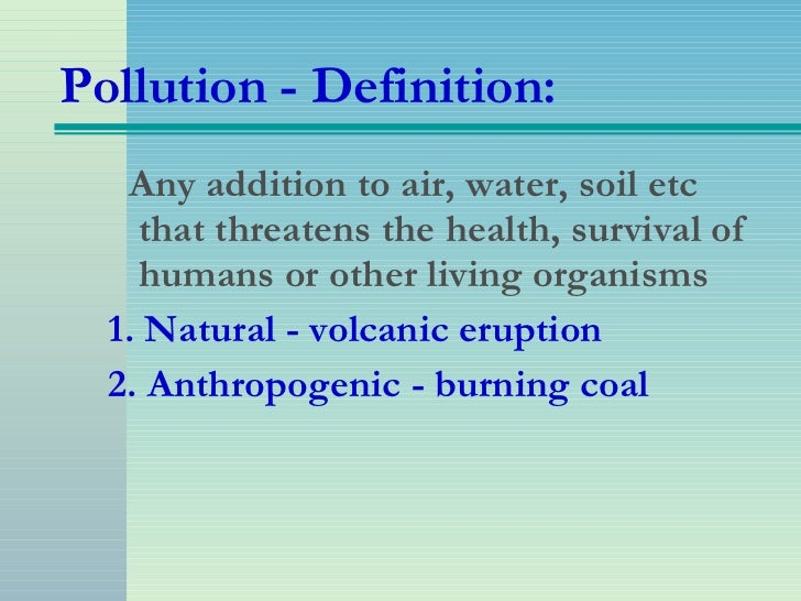 Air pollution for Soil pollution definition