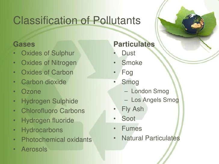 types of pollution classification essay