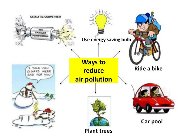 air pollution your car is to Taking public transportation instead of driving a car, or riding a bike instead of traveling in carbon dioxide-emitting vehicles are a couple of ways to reduce air pollution avoiding aerosol cans, recycling yard trimmings instead of burning them, and not smoking cigarettes are others.