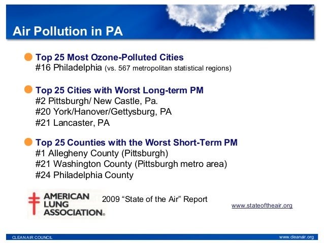 """Top 25 Most Ozone-Polluted Cities #16 Philadelphia (vs. 567 metropolitan statistical regions) 2009 """"State of the Air"""" Repo..."""