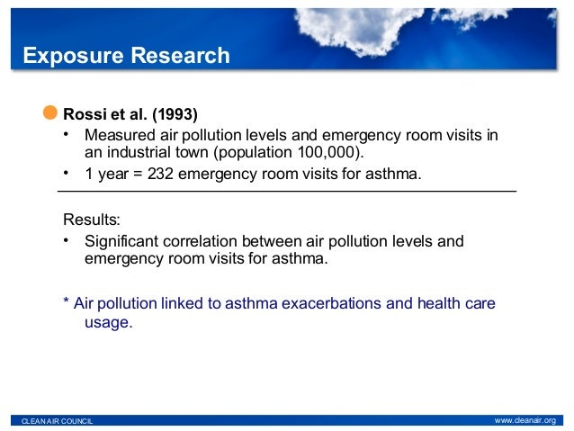 Rossi et al. (1993) • Measured air pollution levels and emergency room visits in an industrial town (population 100,000). ...